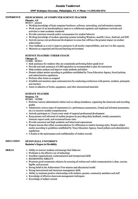 science resume sles velvet