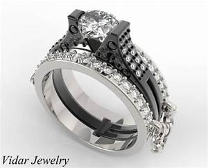 Unique Handcuff Wedding Ring Set Linked Chain Vidar