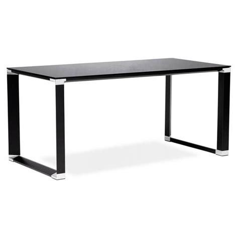 bureau en verre trempé noir bureau droit design boin en verre trempé noir