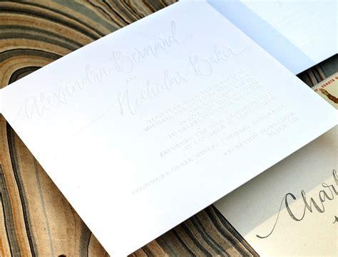 Shimmer white foil blind emboss wedding invitations, white ...