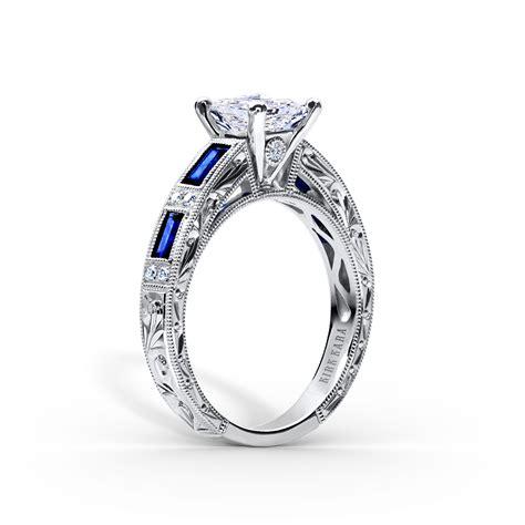 Kirk Kara   Charlotte Deco Diamond and Sapphire Platinum Engagement Ring   Platinum Jewelry