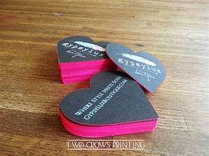 Edge painted heart shaped die cut business cards for Dye cut business cards