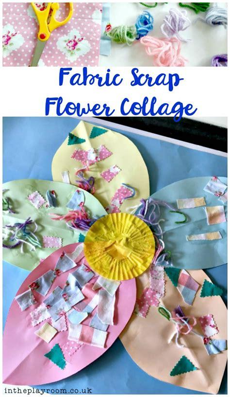 fabric scrap flower collage   playroom