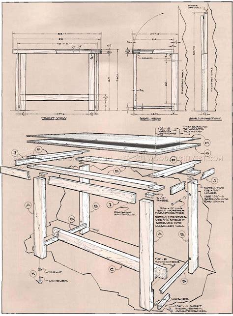 fold  workbench plans woodarchivist