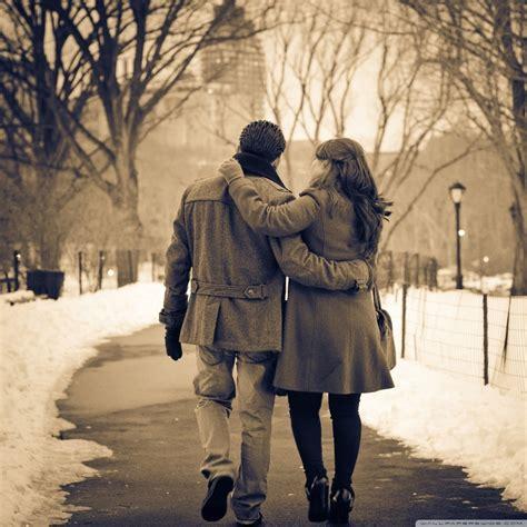 romantic walk   park  hd desktop wallpaper