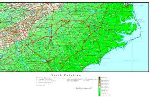 Elevation Map of NC North Carolina