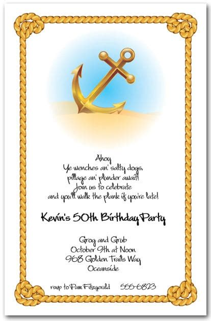 anchor rope nautical themed party invitations