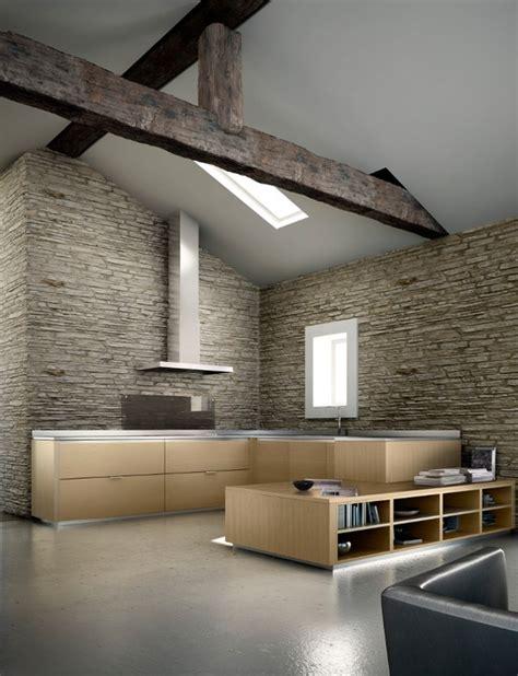canapé convertible avec rangement intérieur avec des murs en et une cuisine design