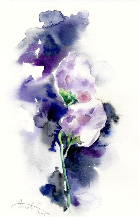 original watercolor painting purple flowers abstract