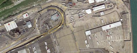 The port of Dover with marked the points of security ...