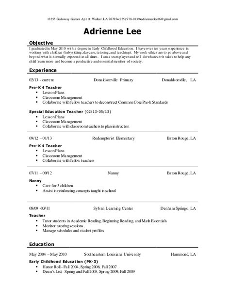 Early Childhood Resume Objective by Early Childhood Education Resume Sle Sles