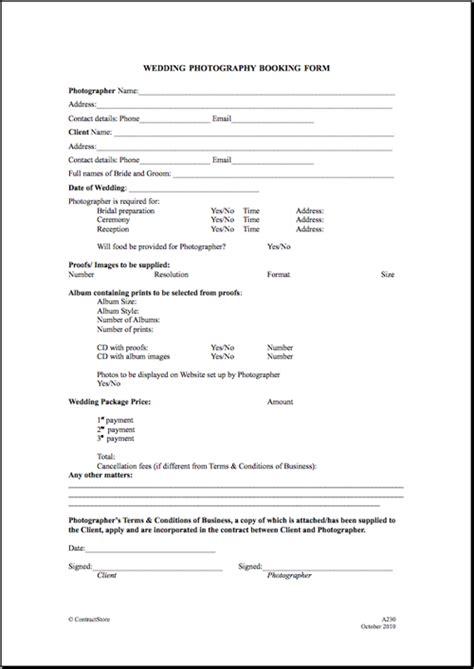 printable wedding photography contract template form