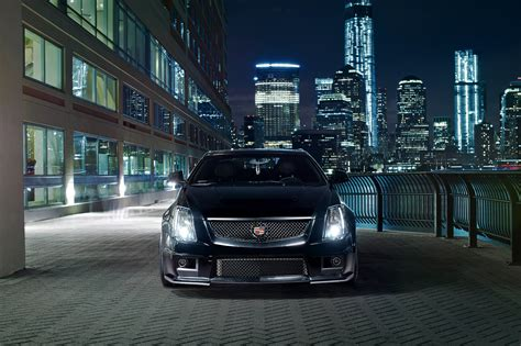 cadillac cts  black night town lights  hd wallpaper