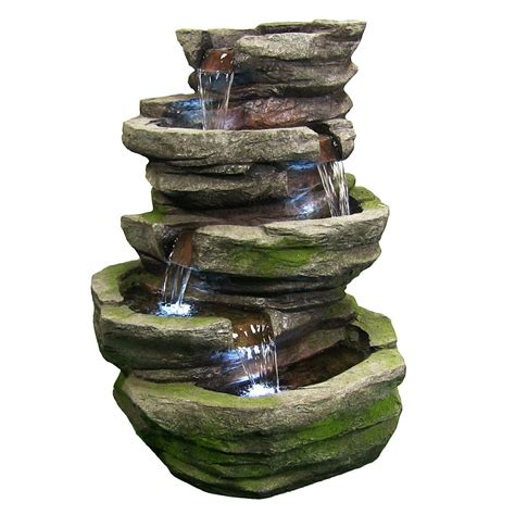 outdoor cobblestone waterfall fountain  led lights