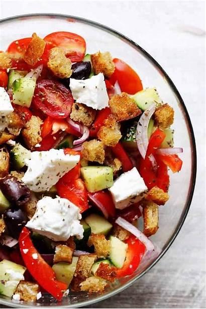 Salad Greek Panzanella Recipe Feta Recipes Vinaigrette