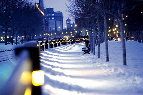 Snow Lights by Montreal Snow Lights Winter City Canada Wallpapers Hd