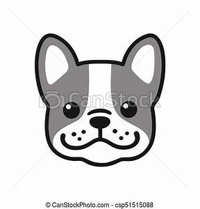 Cute cartoon french bulldog face drawing. adorable little ...