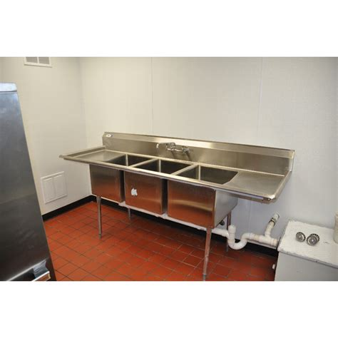 commercial three compartment sink regency 16 gauge three compartment stainless steel