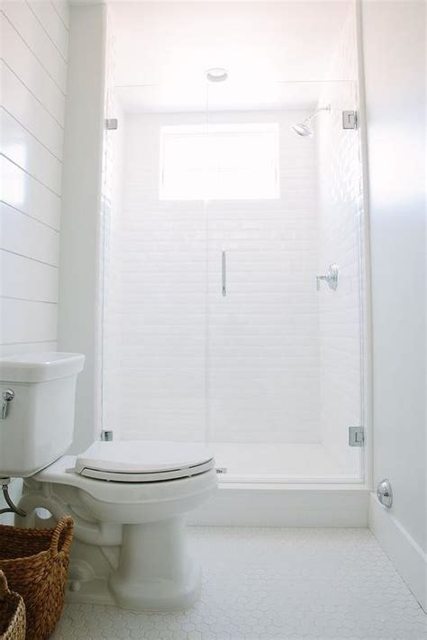 white  gray bathroom  large hex marble floor