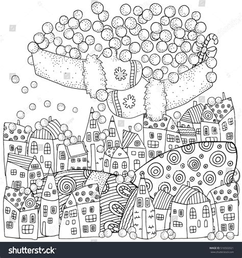 winter pattern adult coloring book page stock vector