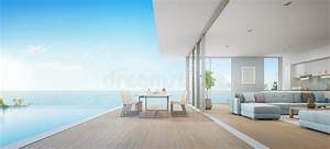 Outdoor Dining And Sea View Living Room Beside Kitchen Of ...