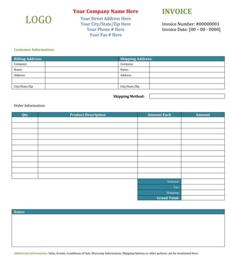 blank invoice templates excel word  quick