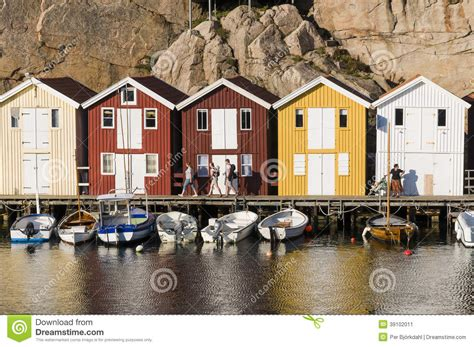 fishing sheds and colorful wooden fishing sheds editorial photo