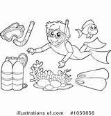 Snorkel Clipart Illustration Royalty Coloring Pages Visekart Template sketch template