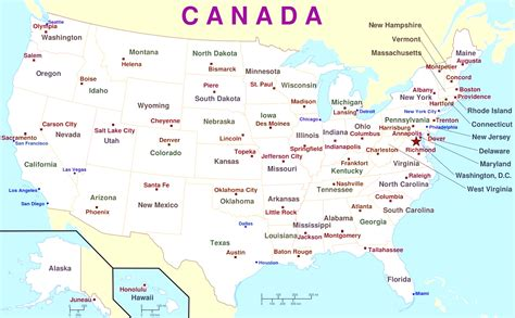 map  usa  canada  major cities  travel
