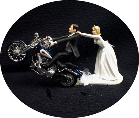Motorcycle Wedding Cake Topper W/ Sexy Blue Harley