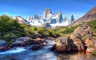 Patagonia Chile Scenery Mountains Rivers Nature Snow