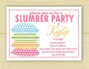 13th Birthday Sleep Over Party Invitations