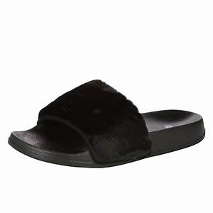 WOMENS SANDALS LADIES SLIDERS FAUX FUR RUBBER SANDALS POOL ...