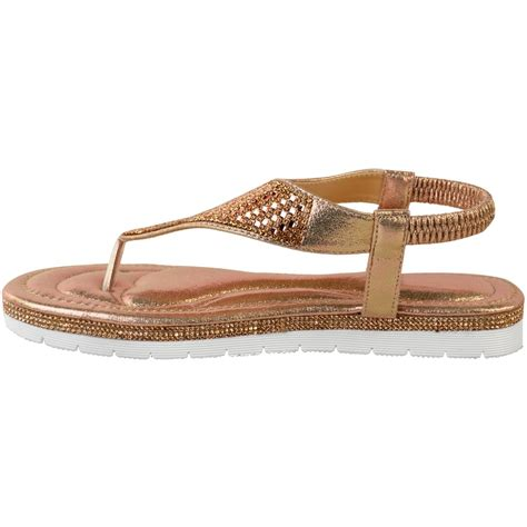 womens ladies flip flops flat sandals diamante sparkly