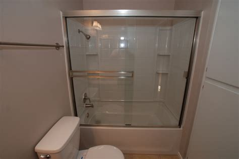 Tub Shower Combo One by Fiberglass 4 Combo Tub Shower With Brushed Nickel