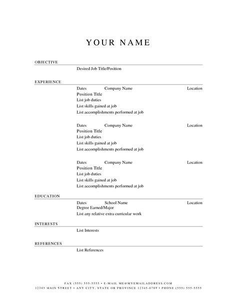 Free Simple Resume Templates by Printable Resume Templates Free Printable Resume