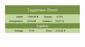 Zinsen Berechnen Excel Vorlage : tag genauer zins rechner mithilfe kostenloser excel vorlage excel vorlagen f r jeden zweck ~ Themetempest.com Abrechnung