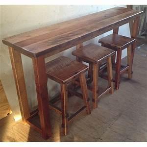 Reclaimed Barn Wood Breakfast Bar with 3 Stools