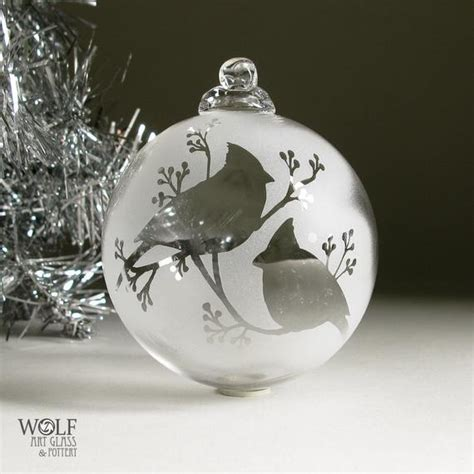 etched glass christmas ornament snow cardinals  berries