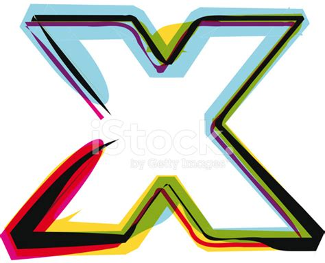 Colorful Font Letter X Stock Vector