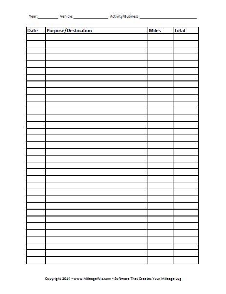 trip tracker certificate template free printable mileage log four columns printables