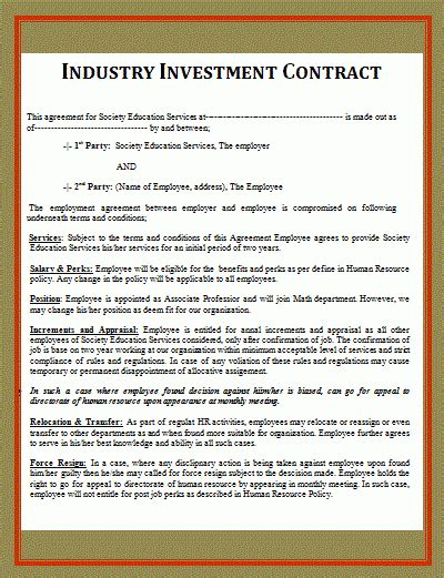 printable investment contract template  word templates