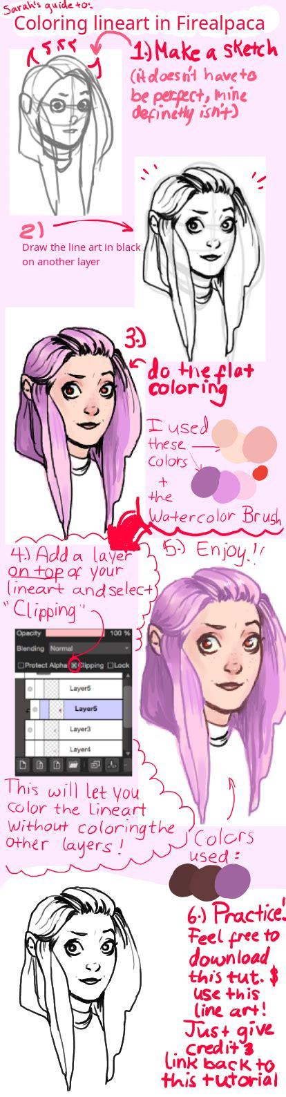firealpaca lineart coloring tutorial base