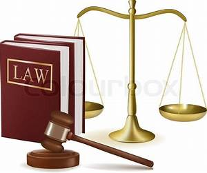 Judge gavel with law books and scales. Vector illustration ...