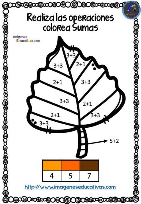 coloreamos  sumas en otono fichas de matematicas