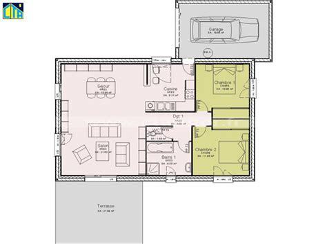 plan de maison plain pied 2 chambres et garage plan maison plain pied 1 chambre plan villa 2 maison de