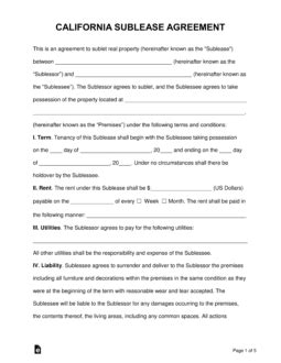 california sublease agreement template word