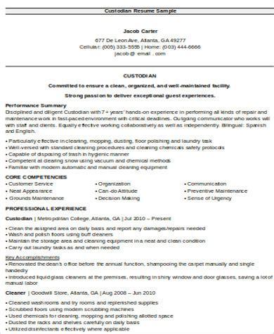 Custodian Resume by Sle Custodian Resume 8 Exles In Word Pdf