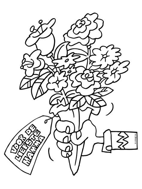 Kleurplaat Bedankt Bloemen by Kleurplaat Bosje Bloemen Voor Moederdag Kleurplaten Nl