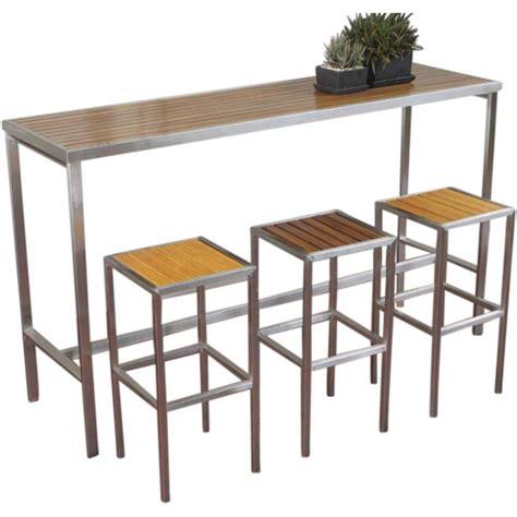 hayman outdoor high bar table stainless steel  teak